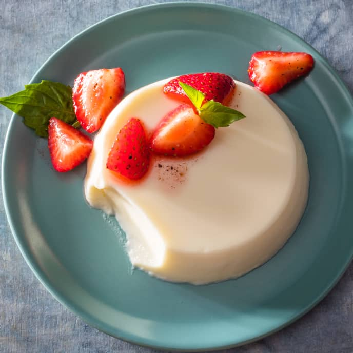 Buttermilk-Thai Basil Panna Cotta with Peppery Strawberries
