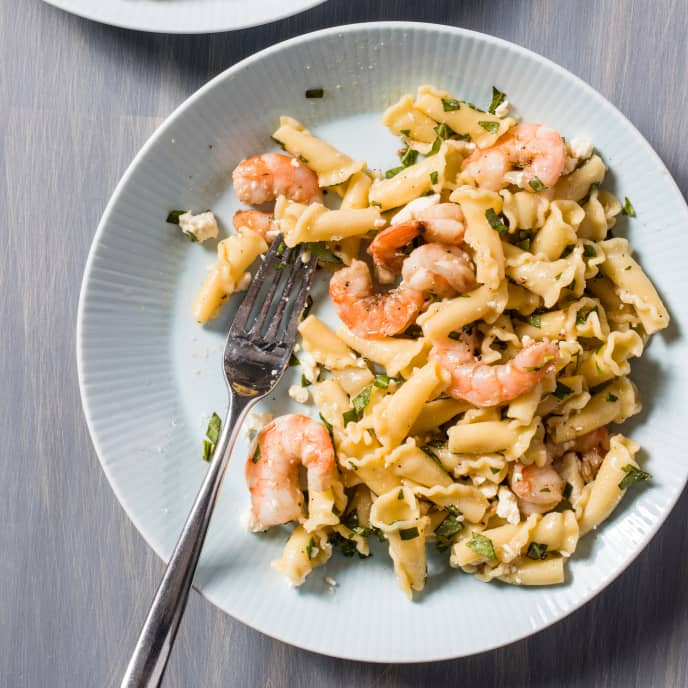 Campanelle with Roasted Garlic, Shrimp, and Feta for Two