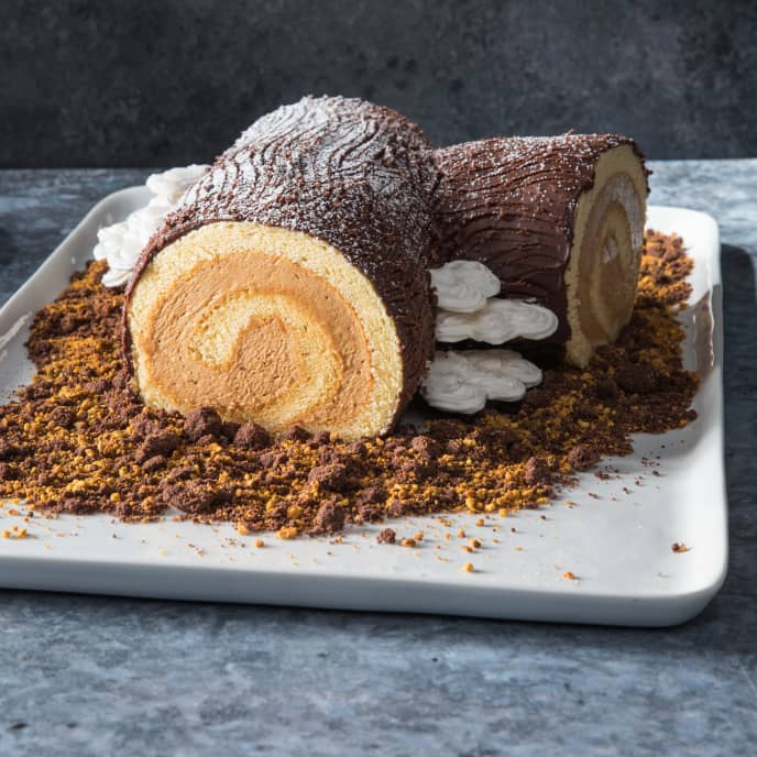 Caramel-Espresso Yule Log with Meringue Bracket-Style Mushrooms and Chocolate Crumbles
