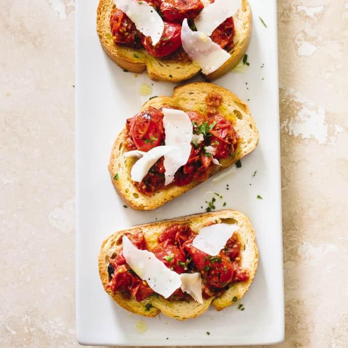 Cast Iron Charred Grape Tomato Bruschetta America S Test