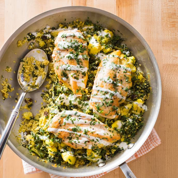 Curried Vegetable Couscous and Chicken with Lime-Yogurt Sauce