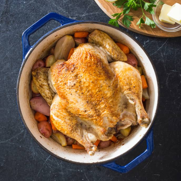 Chicken in a Pot with Red Potatoes, Carrots, and Shallots