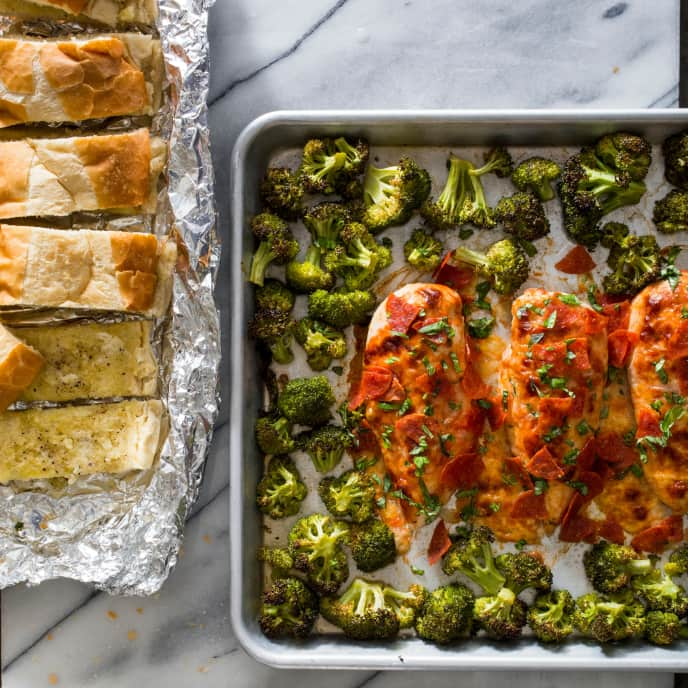 Sheet-Pan Chicken Pizzaiola with Roasted Broccoli and Garlic Bread
