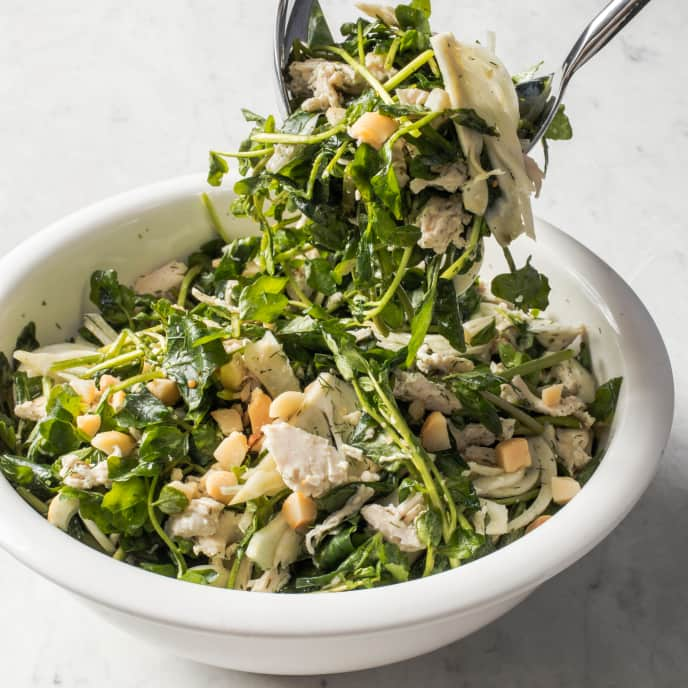 Chicken Salad with Pickled Fennel, Watercress, and Macadamia Nuts