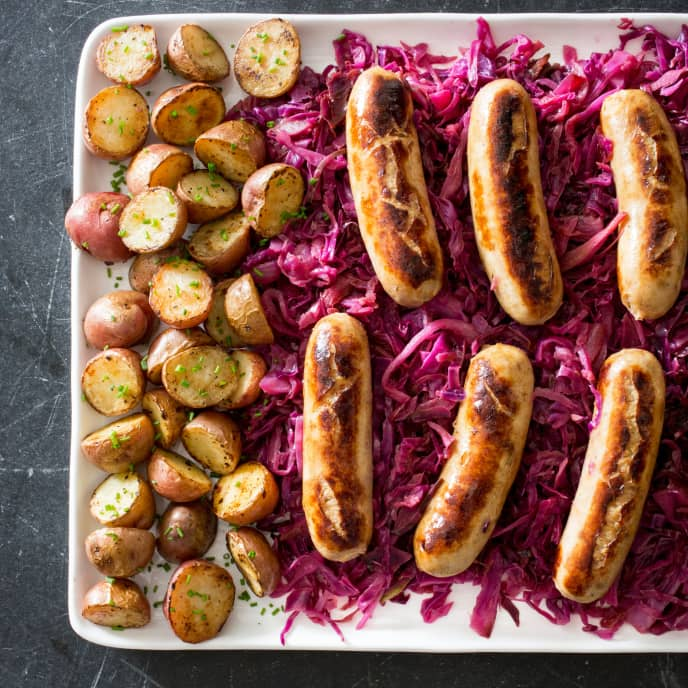 Chicken Sausage with Braised Red Cabbage and Potatoes
