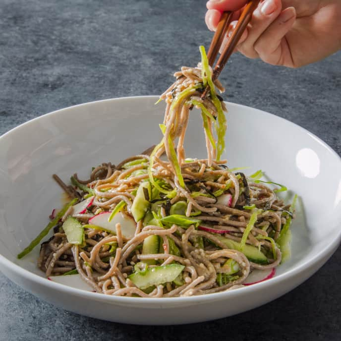 Chilled Soba Noodles with Cucumber, Snow Peas, and Radishes for Two
