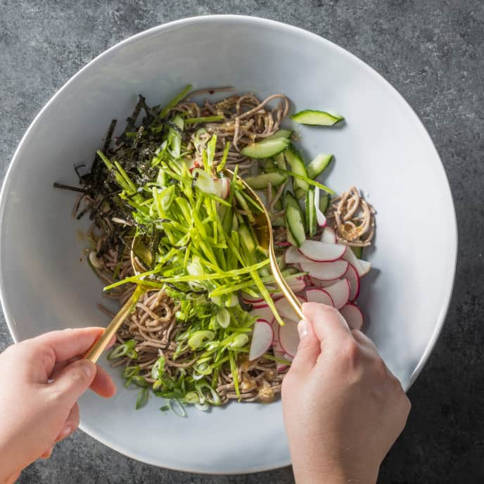 Chilled Soba Noodles with Cucumber, Snow Peas, and Radishes