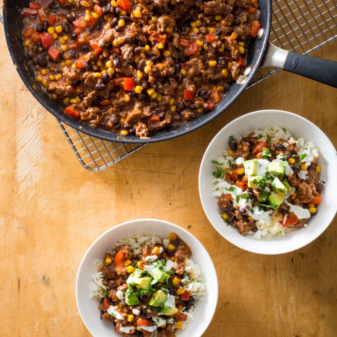 Skillet Chipotle Beef Chili Bowls with Lime-Cilantro Crema