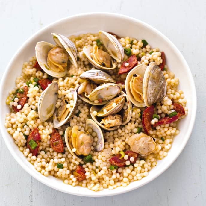 Cast Iron Clams with Israeli Couscous and Chorizo