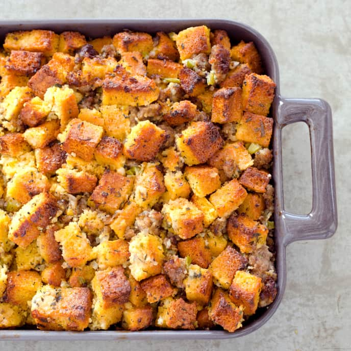 Gluten-Free Golden Cornbread and Sausage Stuffing