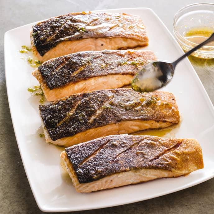 Cast Iron Crisp-Skin Salmon with Honey-Lime Sauce