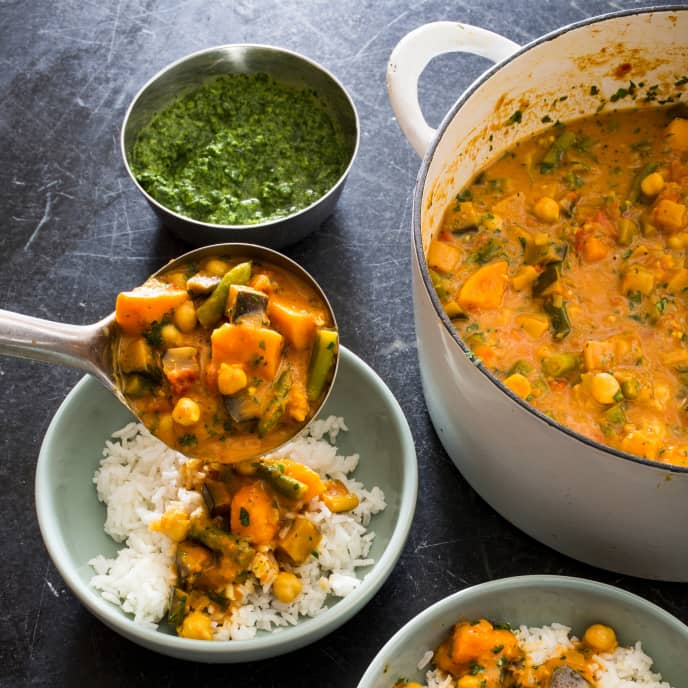 One-Pot Eggplant and Sweet Potato Curry