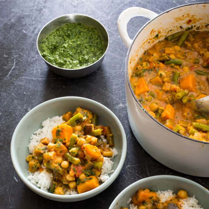 Vegan Indian-Style Curry with Sweet Potatoes, Eggplant, and Chickpeas