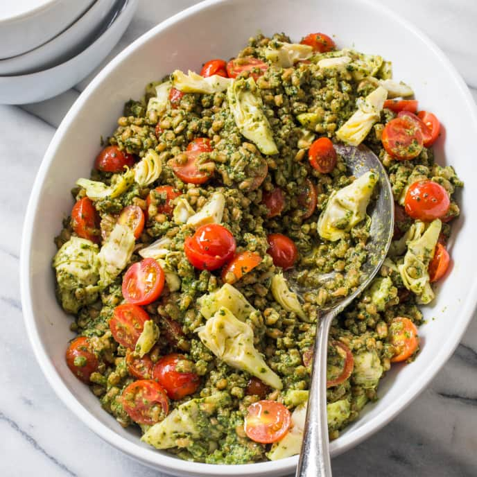 Pesto Farro Salad with Cherry Tomatoes and Artichokes
