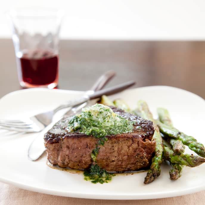 Pan-Roasted Filets Mignons with Asparagus and Garlic-Herb Butter for Two