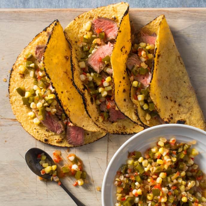 Flank Steak Tacos with Cumin Corn Relish