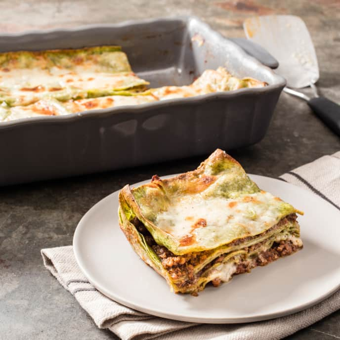 Green Lasagna with Meat Sauce