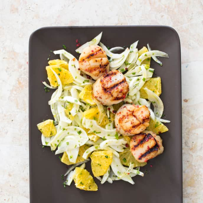Grilled Scallops with Fennel and Orange Salad for Two
