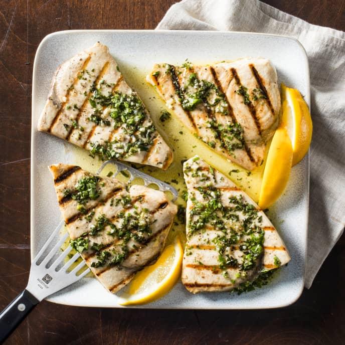 Grilled Swordfish with Salmoriglio Sauce