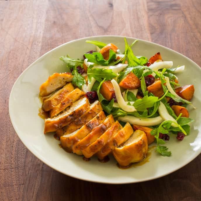Sheet-Pan Honey Mustard–Glazed Chicken with Roasted Sweet Potato Salad