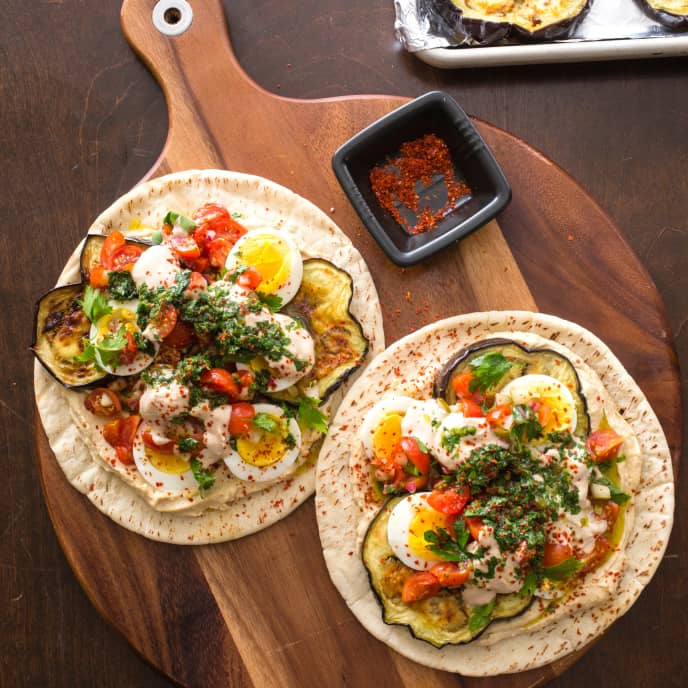 Sabich-Eggplant and Egg Sandwiches