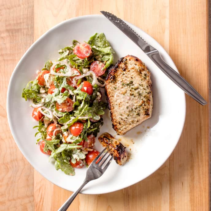 Air-Fryer Lemon-Oregano Roasted Pork Chops with Tomato-Feta Salad
