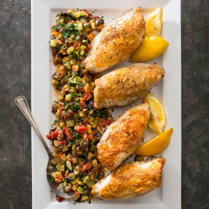 Sheet-Pan Lemon-Thyme Roasted Chicken with Ratatouille