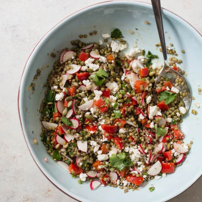 Slow-Cooker Lentil Salad with Radishes, Cilantro, and Pepitas