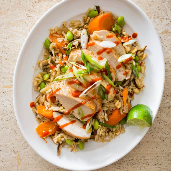 Lime-Ginger Chicken and Rice with Edamame, Carrots, and Shiitakes