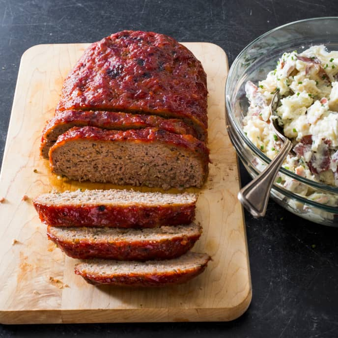 Sheet-Pan Meatloaf with Sour Cream and Chive Smashed Potatoes