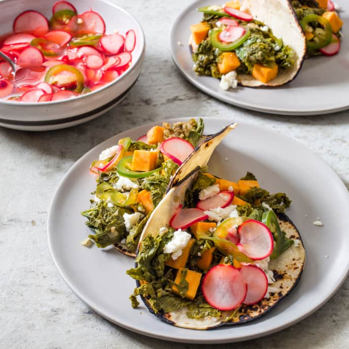 Slow-Cooker Mustard Greens and Sweet Potato Tacos