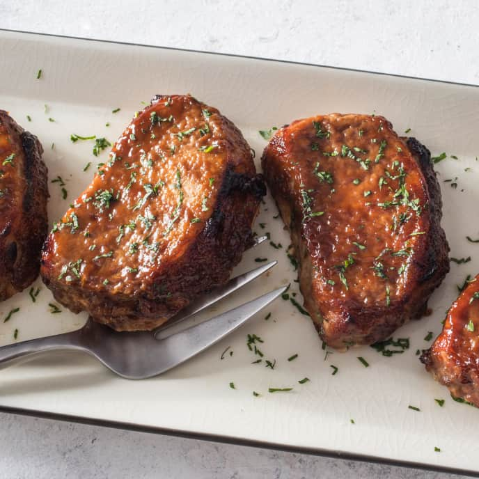 Mustardy Apple Butter-Glazed Pork Chops