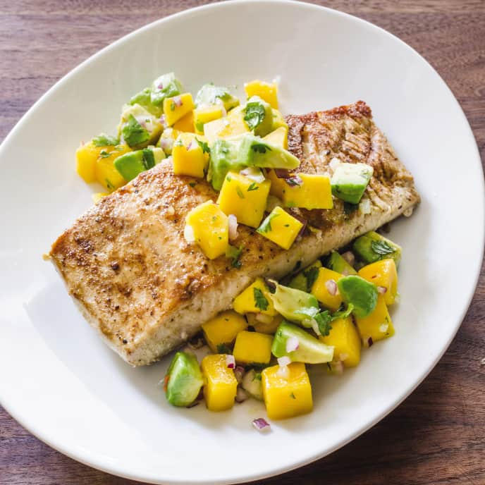 Cast Iron Pan-Seared Mahi-Mahi with Mango and Avocado Salsa
