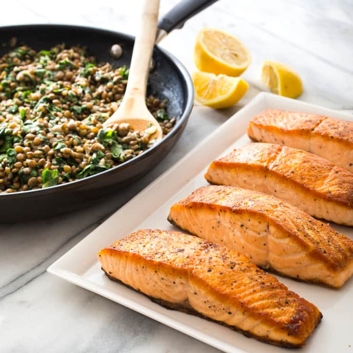 Pan-Seared Salmon with Lentils and Chard