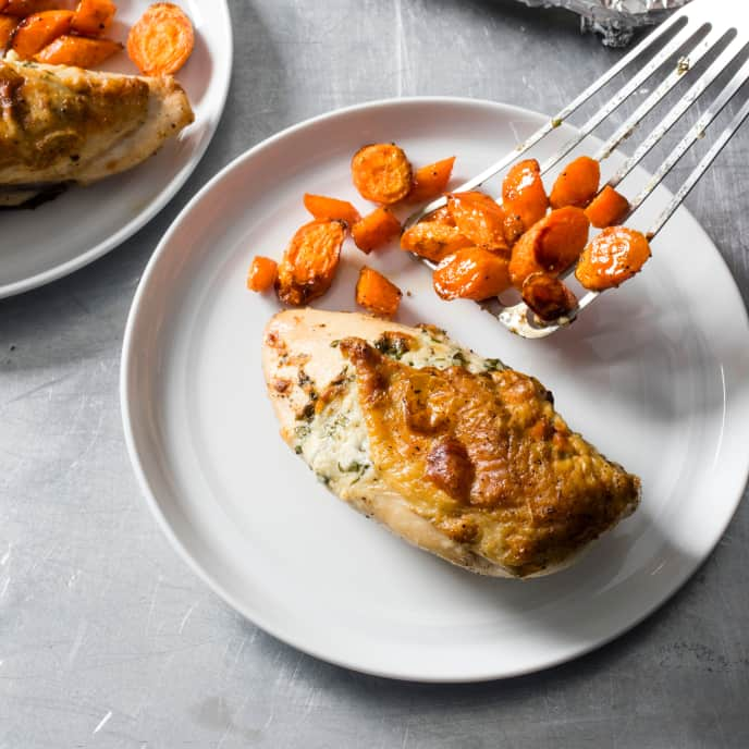 Parmesan and Basil-Stuffed Chicken with Roasted Carrots for Two