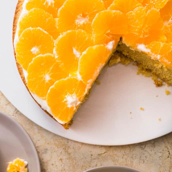 Honey–Rosemary Polenta Cake with Clementines (Reduced Sugar)