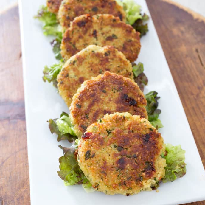 Gluten-Free Quinoa Patties with Spinach and Sun-Dried Tomatoes
