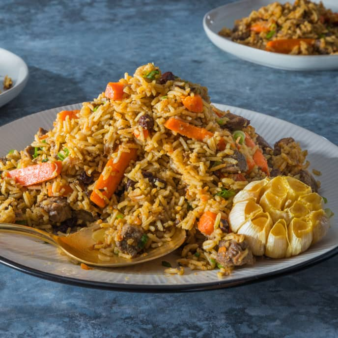 Rice Pilaf with Beef and Carrots (Plov)