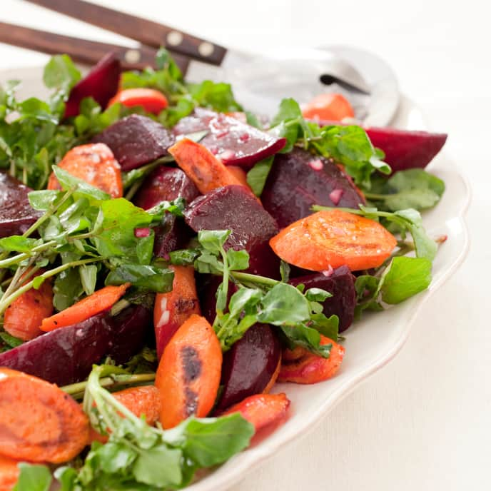 Roasted Beet and Carrot Salad with Watercress