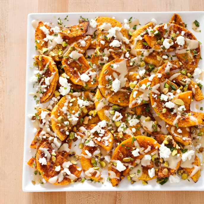Roasted Butternut Squash with Pistachios and Feta