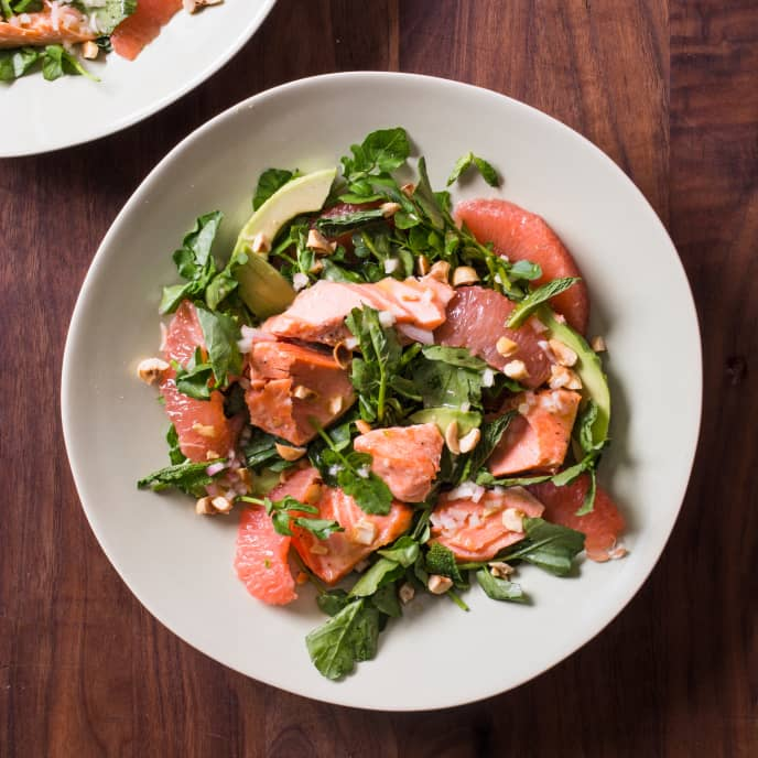 Salmon, Avocado, Grapefruit, and Watercress Salad