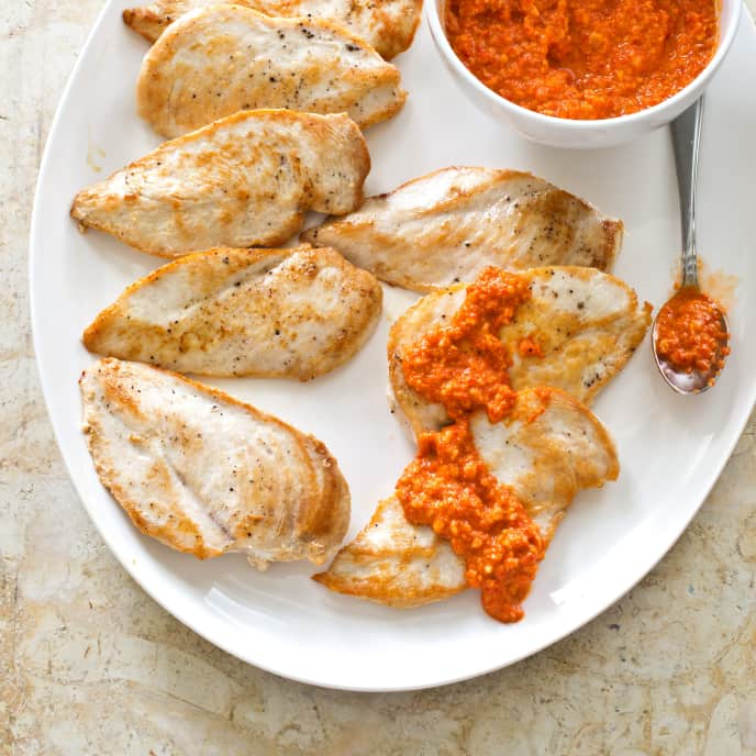 Sautéed Chicken Cutlets with Romesco Sauce