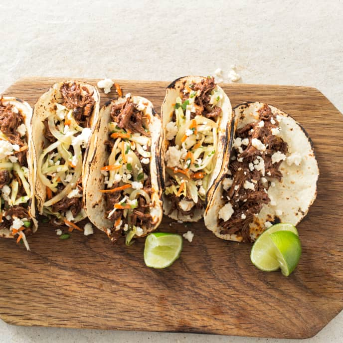 Slow-Cooker Shredded Beef Tacos With Cabbage-Carrot Slaw