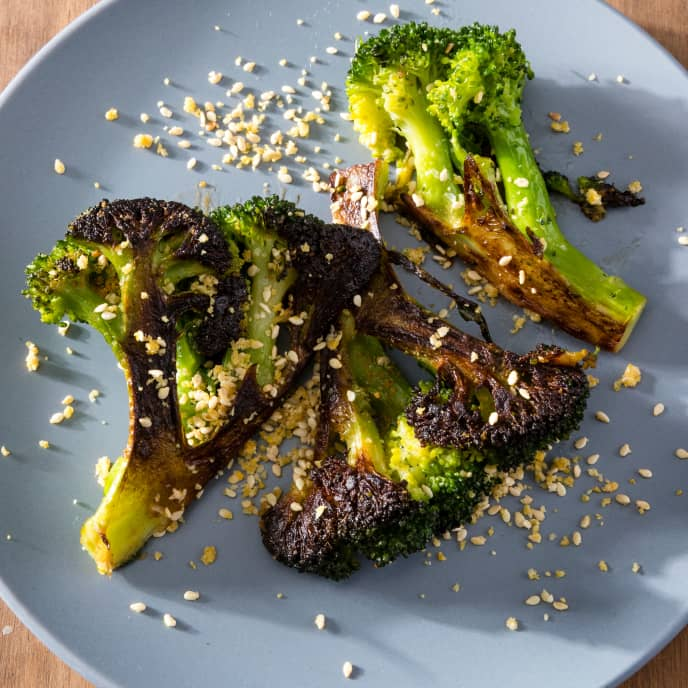 Skillet-Roasted Broccoli with Sesame and Orange Topping