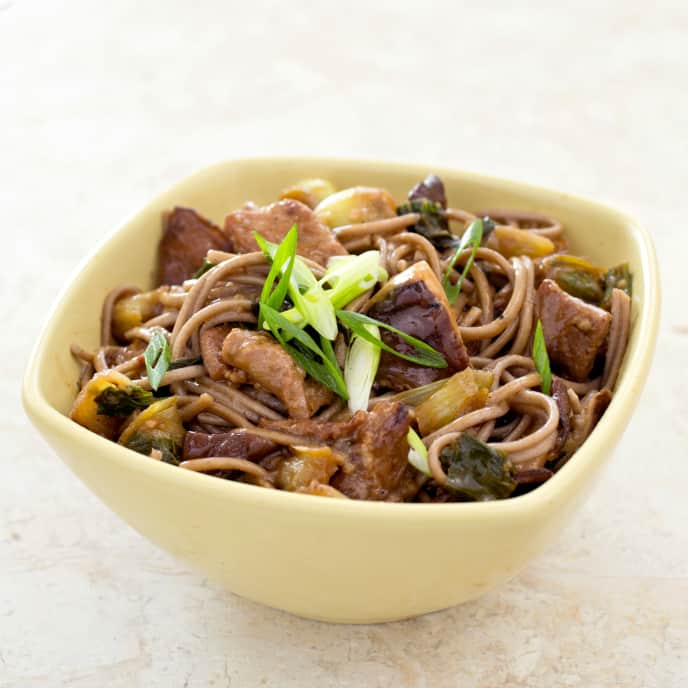 Gluten-Free Soba Noodles with Pork, Shiitakes, and Bok Choy