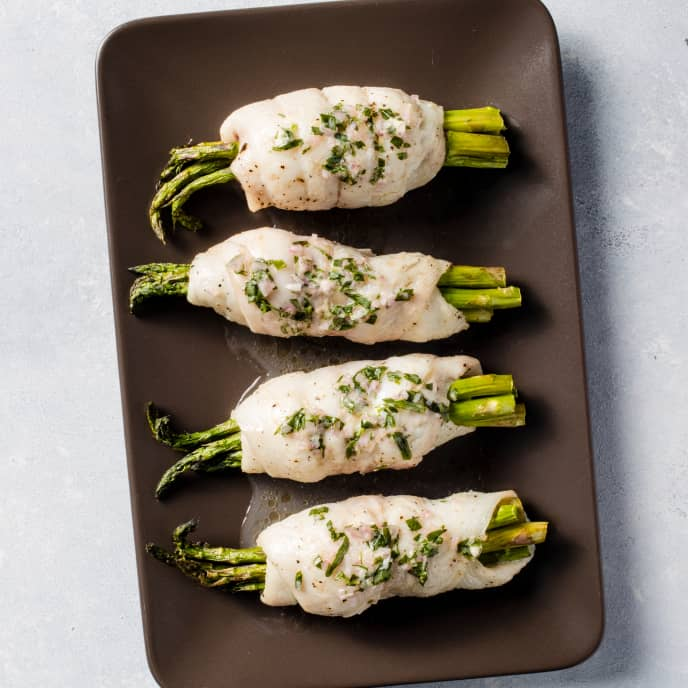 Air-Fryer Sole and Asparagus Bundles with Tarragon Butter