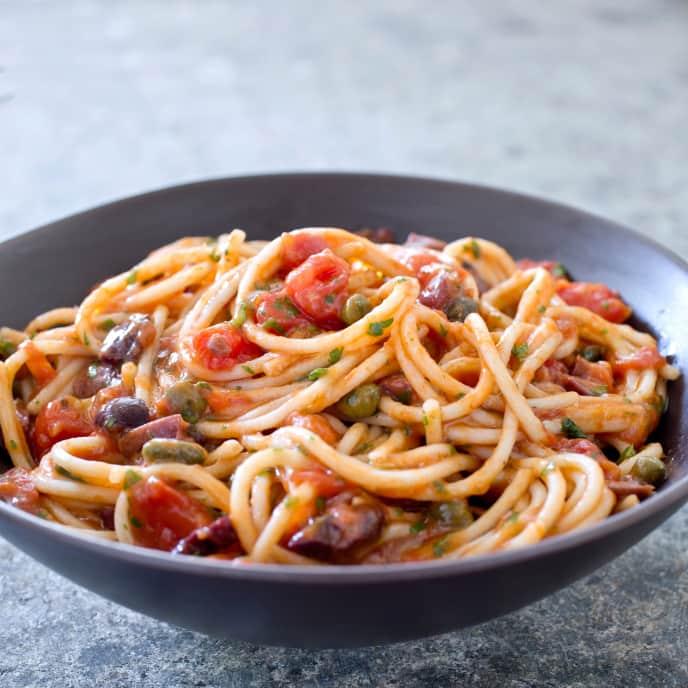 Gluten-Free Spaghetti with Puttanesca Sauce