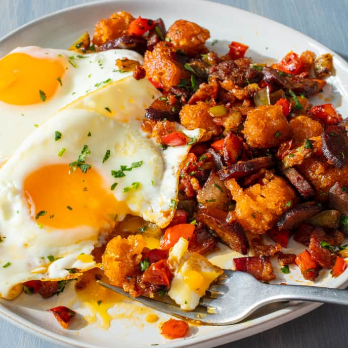 Spanish Migas with Fried Eggs