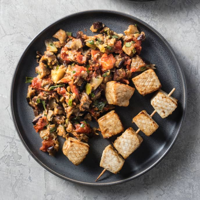 Air-Fryer Swordfish Skewers with Tomato-Scallion Caponata