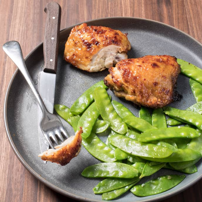 Air-Fryer Teriyaki Chicken with Snow Peas